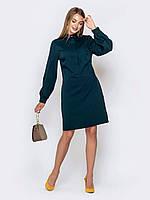 Платье-рубашка зеленое женское до колена с длинным рукавом 44 46 48 50 52 54 56 58