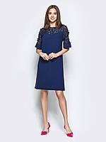 Синее платье прямого кроя до колена из хлопка 42 44 46 48 50 52-54