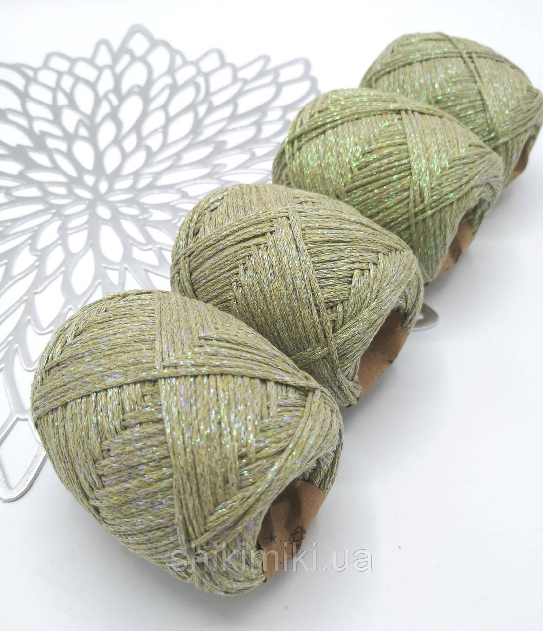 Трикотажный шнур с люрексом Knit & Shine, цвет Оливковый