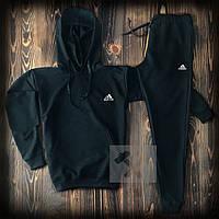 Мужской костюм худи + штаны черный Адидас Adidas теплая осень / весна (реплика)