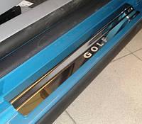 Защитные хром накладки на пороги volkswagen golf V 3D (фольксваген гольф 5е поколение, 3 двери) 2004г-2008г