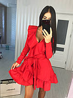 Молодежное нарядное платье с запахом на осень 2020, фото 1