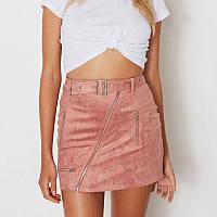 Женская короткая замшевая юбка Coardiarn с ремешком розовая M, фото 1