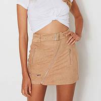 Женская короткая замшевая юбка Coardiarn с ремешком хаки M, фото 1