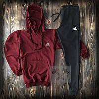 Мужской костюм худи + штаны бордово - черный Адидас Adidas теплая осень / весна (реплика)