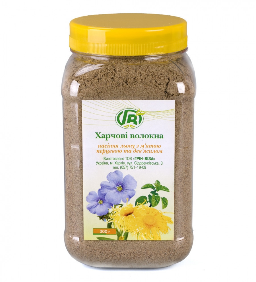 Пищевые волокна семян льна с мятой и девясилом, Грин Виза, 300 г