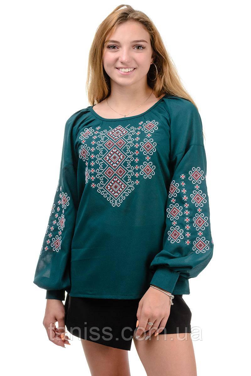 Женская летняя блуза вышиванка Сонечко, креп-шифон,  р-р 42,46 вишиванка українська