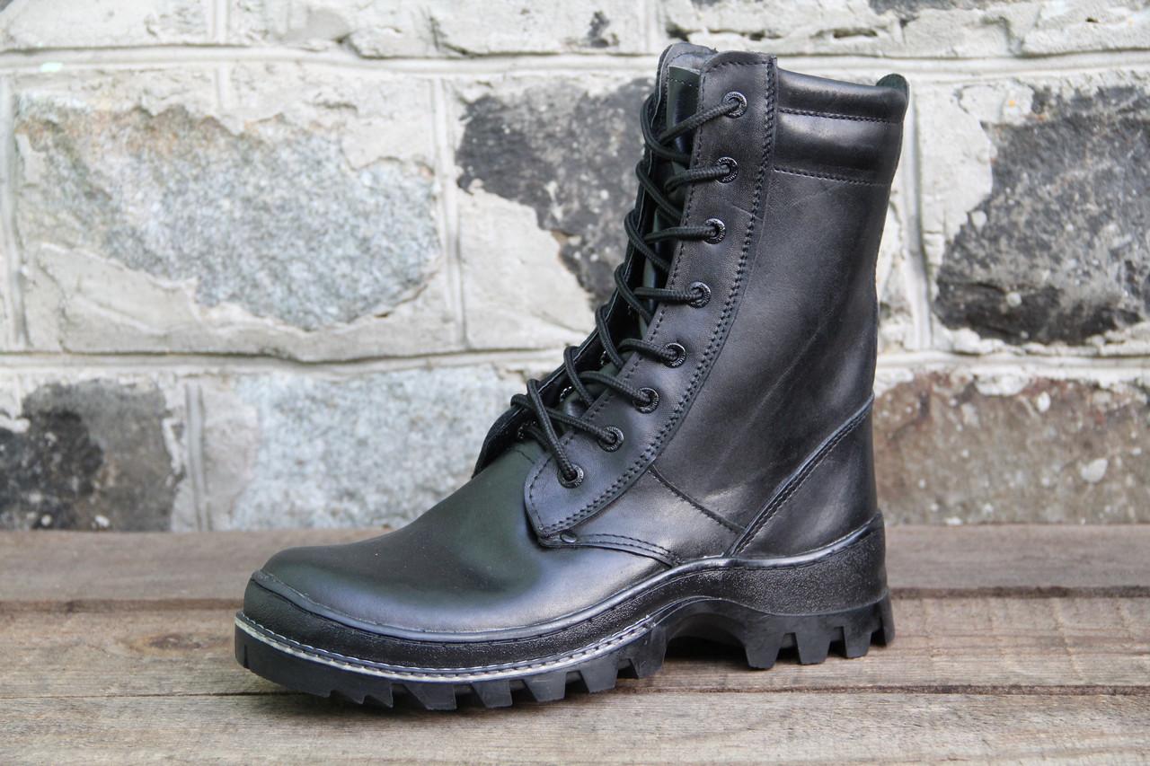 Берци черевики тактичні з натуральної шкіри Чорна шкіра антистатик