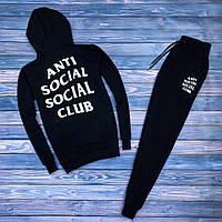 Мужской спортивный костюм с капюшоном, чоловічий спортивний костюм Anti Social Social Club (черный), Реплика