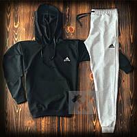 Мужской костюм худи + штаны черно - серый Адидас Adidas теплая осень / весна (реплика)