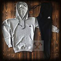 Мужской костюм худи + штаны серо - черный Адидас Adidas теплая осень / весна (реплика)