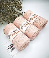 Эко шнур Cotton Macrame Large 3 mm,цвет Пудровый
