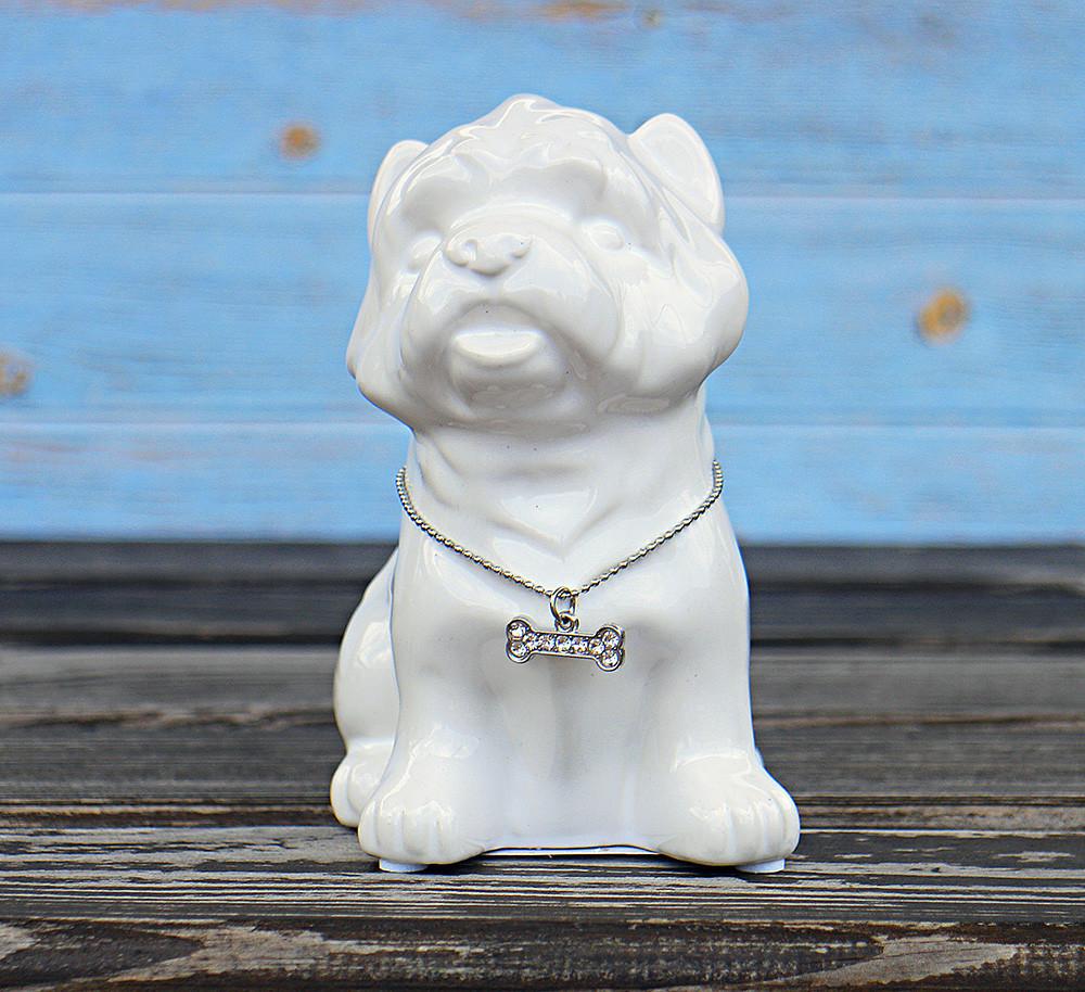 Копилка собачка Йоркширский терьер белая керамика h13см 4506700-2йорк-терьер