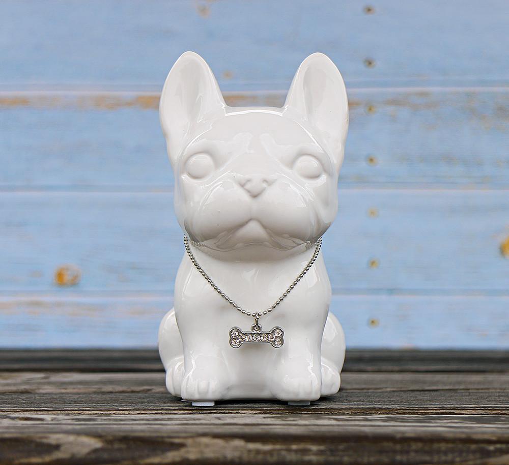 Копилка собачка Грифон белая керамика h13см 4506700-3 грифон