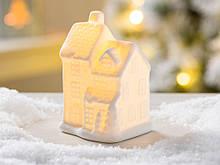 Led каганець будиночок класичний біла кераміка d10см 1008478-4 три ярус