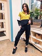 Костюм женский спортивный модный трехцветный с полосками и штаны лампасами Dfl1768
