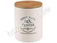 "Банка для кофе Stenson ""Глазурь"" с бамбуковой крышкой 900мл 11,5х11,5х13,8см"