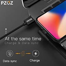 Магнитный кабель Lightning PZOZ с угловым подключением для зарядки iPhone/iPad/iPod (Черный, 1м), фото 3