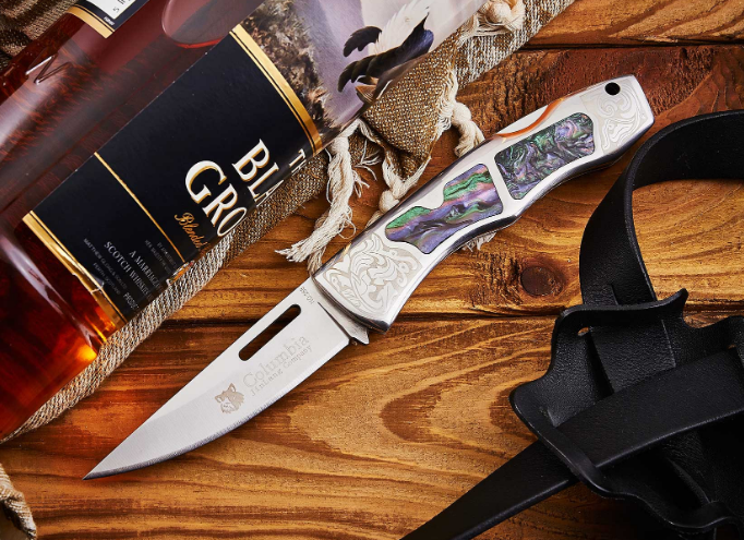 Нож складной с металлической и пластиковой рукоятью, с цветными вставками, отличный подарок туристу, рыбаку