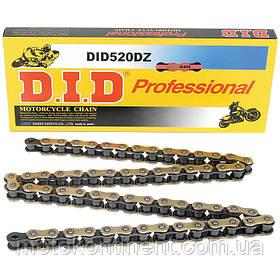 Мото цепь  520 DID 520DZ2 G&B черно - золотая безсальниковая размер цепи 520 звеньев 116