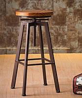 Стул барный Делия в стиле лофт дерево + металл черный от СДМ группа