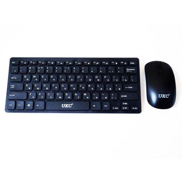 Русская беспроводная мини клавиатура + мышка UKC 4661 черный