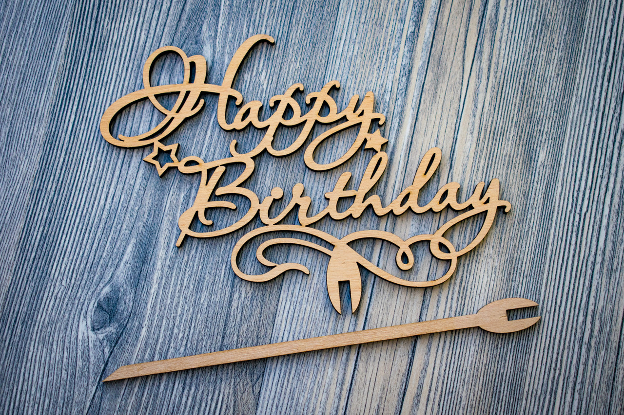 Топпер для цветов и торта оптом (Happy Birthday)