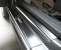 Защитные хром накладки на пороги volkswagen golf VI 3D(фольксваген гольф 6 3х дверный) 2008г+