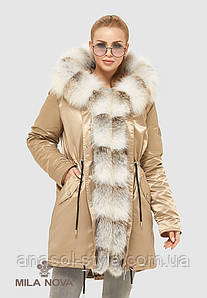 Парка женская зимняя больших размеров натуральный мех чернобурки золотая
