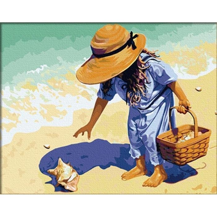 "Картина по номерам. Дети ""Ракушка на побережье"" 40*50см KHO037"