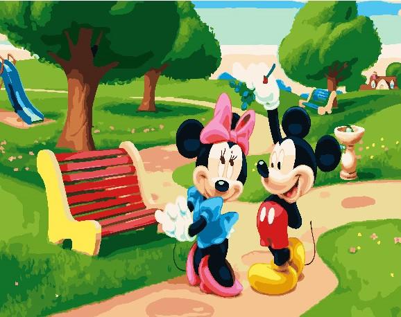 """Картина по номерам. Brushme """"Микки и Минни Маус"""" GX23777"""