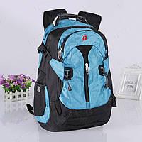 Недорогой швейцарский рюкзак Swissgear 7225 + USB, черно-синий