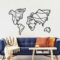 """Декоративное панно / картина   """"Карта мира из лиц"""""""