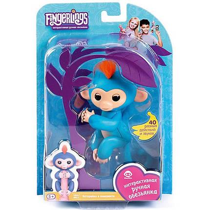 Умная игрушка обезьянка Fingerlings Happy Monkey Blue (004480), фото 2