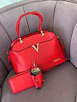 Женский комплект сумка+кошелек+ключница 3 в 1 №7700 красный, фото 1