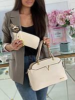 Женский комплект сумка+кошелек+ключница 3 в 1 №7700 молочный