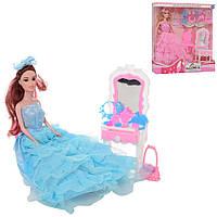 Кукла 9911C (48шт) 29см, трюмо, стул, аксессуары, 2цвета, в кор-ке, 32-33-6см