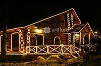 Новогоднее оформление фасада, освещение зданий, иллюминация дома, магазина, украшение фасадов