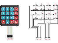 Мембранная клавиатура 16 кнопок 4*4