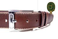 Ремень Л45И1Ш12 коричневый. Телячья кожа строченная. Пряжка серебристая глянец.