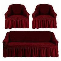 Чехол для мебели (диван + 2 кресла) бордовый (23)
