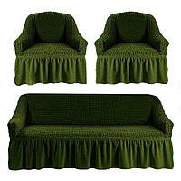 Чехол для мебели (диван + 2 кресла) оливковый (24)