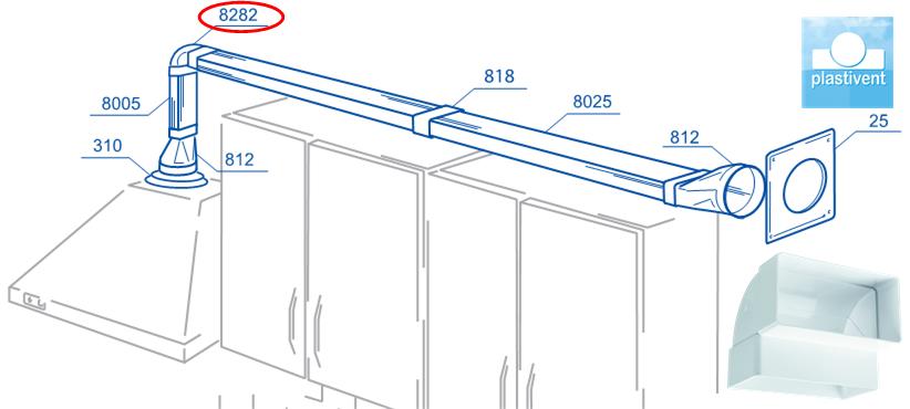 Вариант применения плоских (прямоугольных) воздуховодов и соединительных элементов (колен, редукторов, монтажных пластин) системы ПВХ каналов Пластивент для подключения кухонной вытяжки в квартире, доме. ПВХ система ПЛАСТИВЕНТ содержит все необходимые компоненты (воздуховоды, соединители, редукторы, монтажные пластины, колена, тройники и др.) для построения современной вентиляции с долгим сроком эксплуатации.