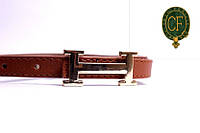 Ремень Л1210Г3 коричневый. Кожезаменитель матовый. Пряжка золотистая.