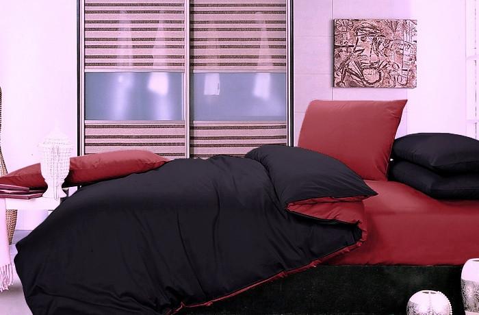 Однотонное постельное белье Сатин  Микс  Черный и Красный, разные размеры семейный