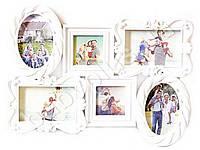 Фоторамка семейная на 6 фото белая. KA-36