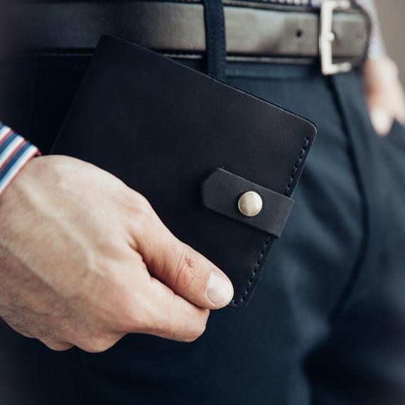 Кожаный кошелек Lucky Mini Синий (21004)
