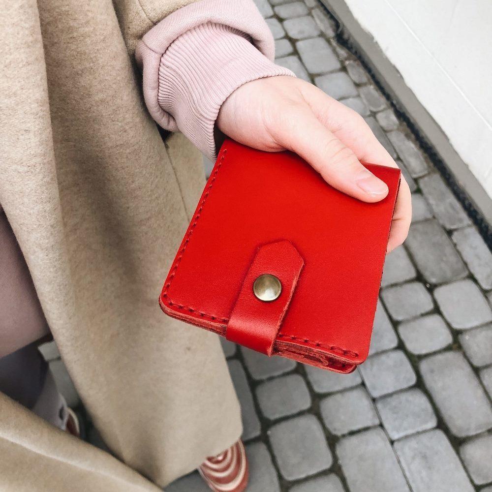 Кожаный кошелек Lucky Mini Красный (21006)