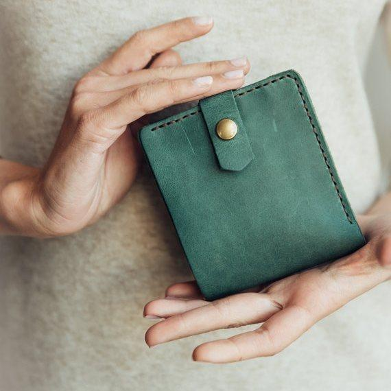 Кожаный кошелек Lucky Mini Зеленый (21017)