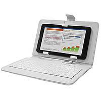 Обложка-чехол Lesko для планшета 7 дюймов с клавиатурой microUSB White (243-9518а)